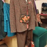 blouse, blazer, pants, boots and accessories