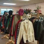 display of fine clothing and leather coats